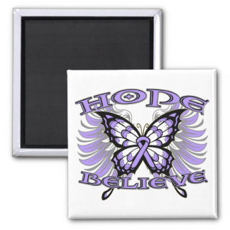 General Cancer Hope Believe Butterfly 2 Inch Square Magnet