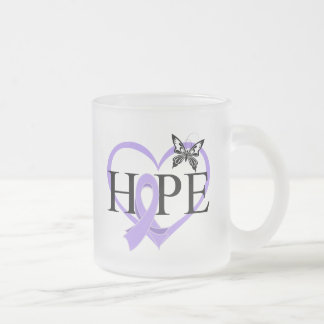 General Cancer Hope Butterfly Heart Décor 10 Oz Frosted Glass Coffee Mug
