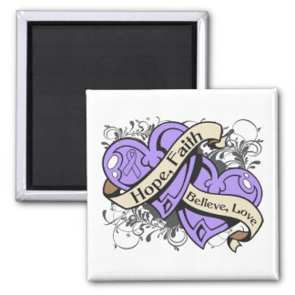 General Cancer Hope Faith Dual Hearts 2 Inch Square Magnet