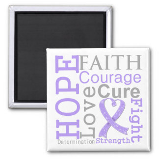 General Cancer Hope Faith Motto 2 Inch Square Magnet