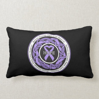 General Cancer Hope Intertwined Ribbon Throw Pillows