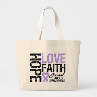 General Cancer Hope Love Faith Bolsa Tela Grande