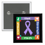 General Cancer Hope Strength Faith 2 Inch Square Button