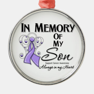 General Cancer In Memory of My Son.png Round Metal Christmas Ornament
