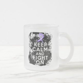 General Cancer Keep Calm and Fight On 10 Oz Frosted Glass Coffee Mug