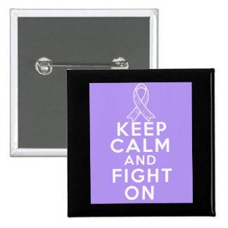 General Cancer Keep Calm y lucha encendido Pin Cuadrado