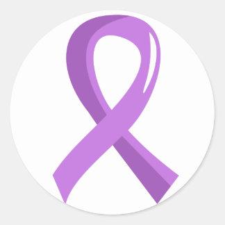 General Cancer Lavender Ribbon 3 Classic Round Sticker