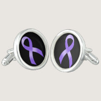 General Cancer - Lavender Ribbon Cufflinks