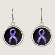 General Cancer - Lavender Ribbon Earrings