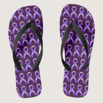 General Cancer - Lavender Ribbon Flip Flops