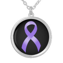 General Cancer - Lavender Ribbon Silver Plated Necklace