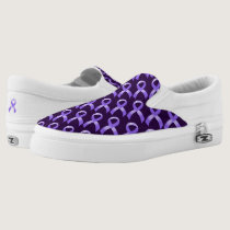 General Cancer - Lavender Ribbon Slip-On Sneakers