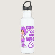 General Cancer Messed With Wrong Girl Stainless Steel Water Bottle