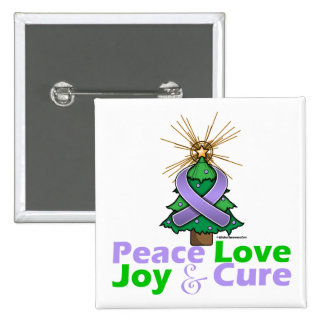 General Cancer Peace Love Joy Cure Pin