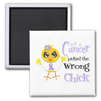 General Cancer Picked The Wrong Chick 2 Inch Square Magnet