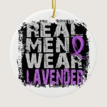 General Cancer Real Men Wear Lavender Ceramic Ornament