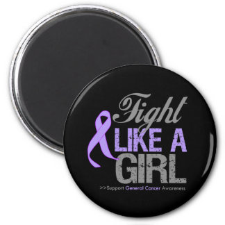 General Cancer Ribbon - Fight Like a Girl Refrigerator Magnets