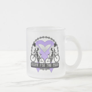 General Cancer Riding For The Cure 10 Oz Frosted Glass Coffee Mug