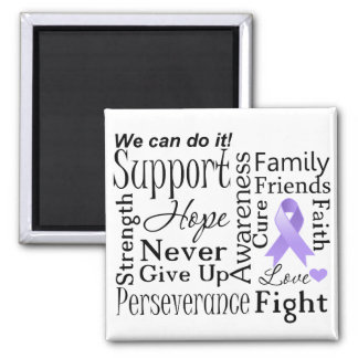 General Cancer Supportive Words 2 Inch Square Magnet