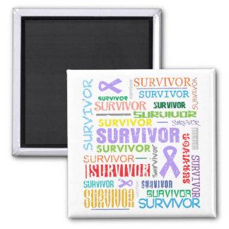 General Cancer Survivor Collage.png 2 Inch Square Magnet