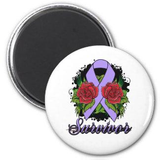General Cancer Survivor Rose Grunge Tattoo 2 Inch Round Magnet