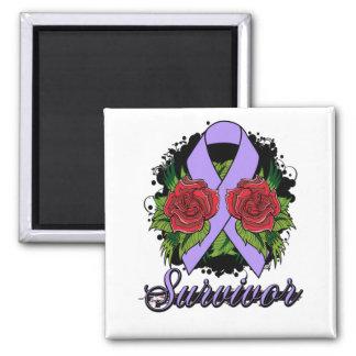General Cancer Survivor Rose Grunge Tattoo 2 Inch Square Magnet