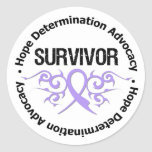 General Cancer Survivor Tribal Ribbon Etiqueta Redonda