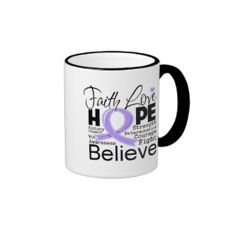 General Cancer Typographic Faith Love Hope Coffee Mug