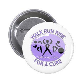 General Cancer Walk Run Ride para una curación Pin Redondo De 2 Pulgadas