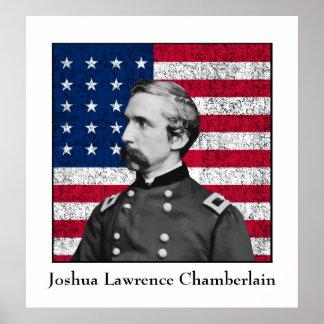 General Chamberlain y la bandera americana Póster