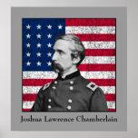 General Chamberlain y la bandera americana Posters