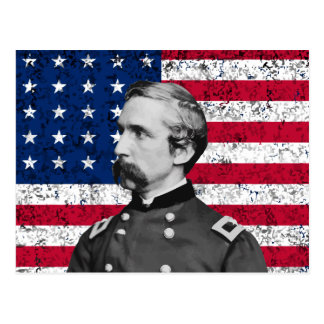 General Chamberlain y la bandera americana Tarjeta Postal