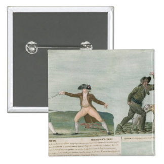 General Charles Lameth  and Charles Eugene 2 Inch Square Button