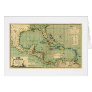 General Chart of the West Indies by Speer 1796 Greeting Card