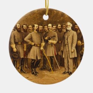 General confederado Roberto E. Lee y sus generales Adorno Navideño Redondo De Cerámica