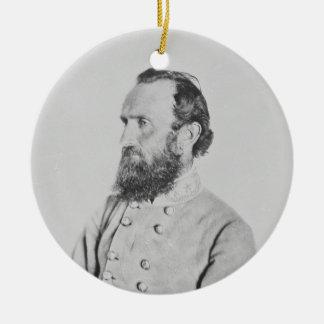 General confederado Thomas J Stonewall Jackson Adorno Navideño Redondo De Cerámica
