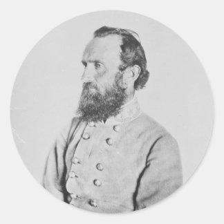 General confederado Thomas J Stonewall Jackson Etiqueta Redonda