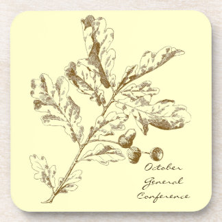 General Conference coaster with brown oak leaves