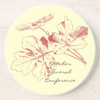 General Conference coaster with red maple leaves