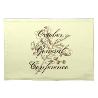 General Conference place-mat with brown oak leaves Placemat