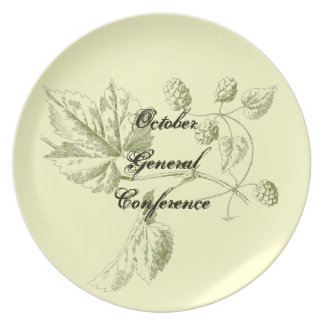 General Conference plate, green vintage hops leaf Melamine Plate