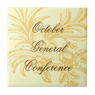 General Conference tile w/orange vintage flowers