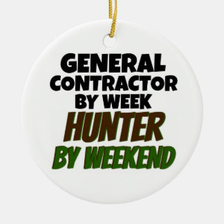 General Contractor by Week Hunter by Weekend Double-Sided Ceramic Round Christmas Ornament