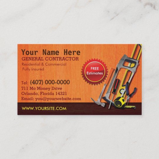 General contractor handyman business card template zazzle general contractor handyman business card template fbccfo Choice Image