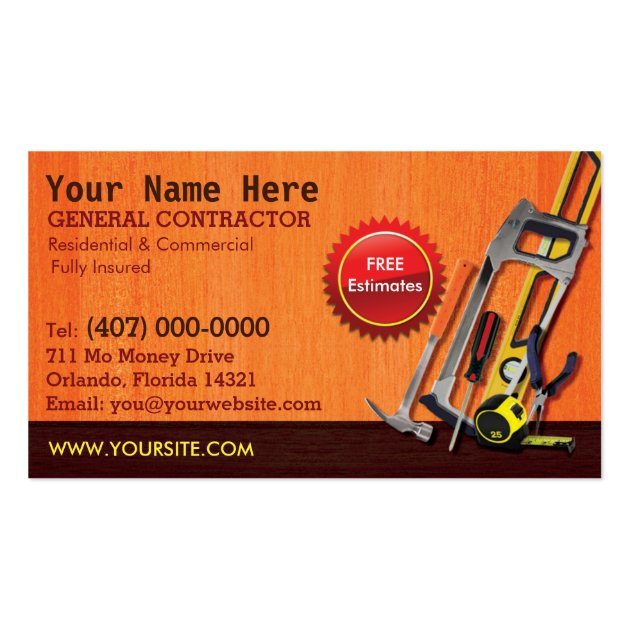 Image gallery handyman business cards for Handyman business card template