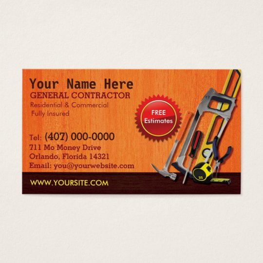 General Contractor Handyman Business Card Template Zazzlecom - Handyman business card template