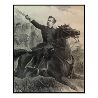 General Custer on Horeseback -- With Border print
