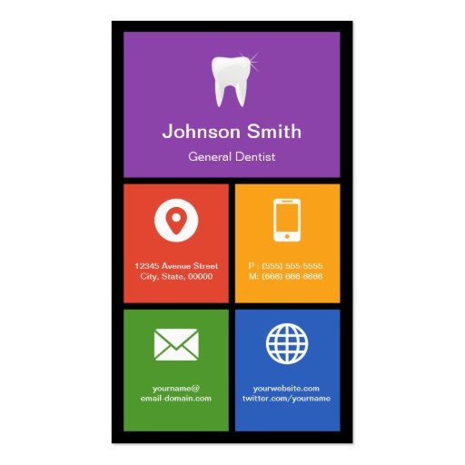 General Dentist - Colorful Tiles Creative Business Card