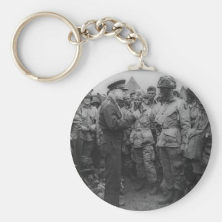 General Dwight D. Eisenhower with Paratroopers Basic Round Button Keychain