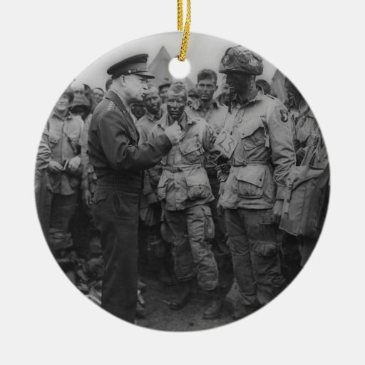 General Dwight D. Eisenhower with Paratroopers Christmas Ornament